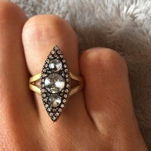 Banana Republic Gold Gray Crystal Cocktail Ring